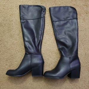 G By GUESS Womens Fashion Boot Black PU Mid Calf 6